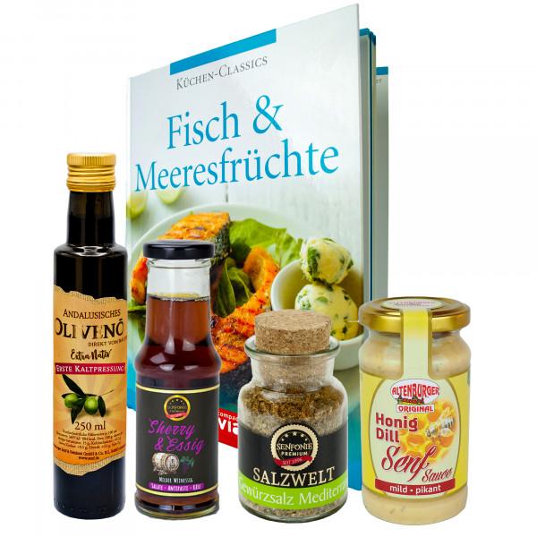 """Fisch"" Bundle- Geschenk-Set gefüllt mit Öl, Gewürzen & Senf inkl. Rezeptbuch"