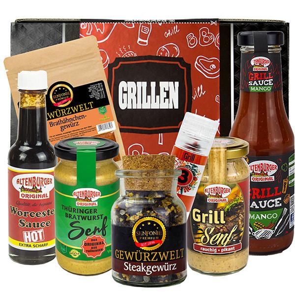 Geschenkbox Grillen gefüllt mit Senf, Gewürzspezialitäten und Grill Saucen