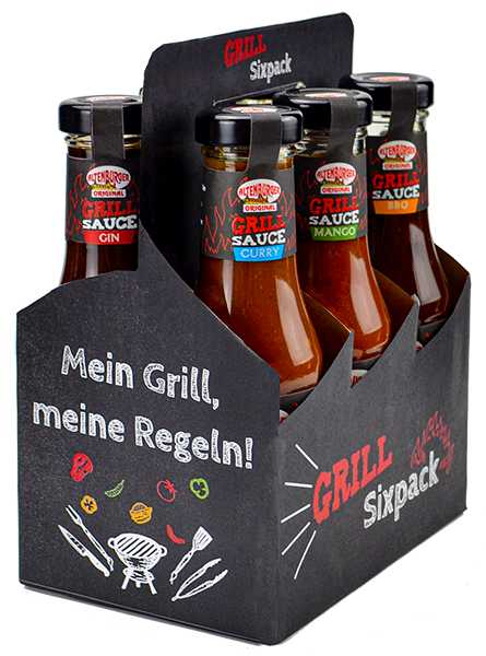 Grill Sixpack gefüllt mit 6 BBQ-Saucen / Grillsaucen