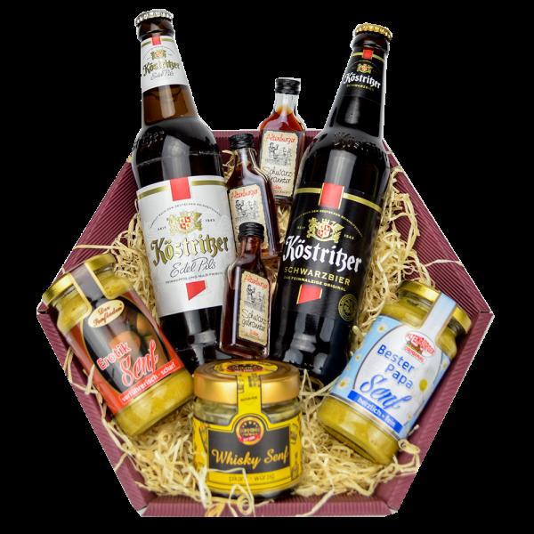 Geschenk für Papa gefüllt mit Senfspezialitäten, Bier und Schnaps