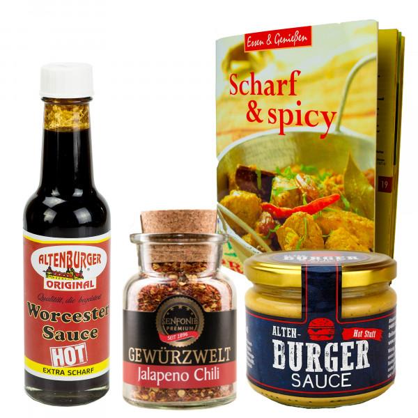 """""""Scharf & Spice"""" Bundle - Geschenk-Set gefüllt mit Worcester Sauce, Jalapeno Chilli & Scharfer Sauce"""
