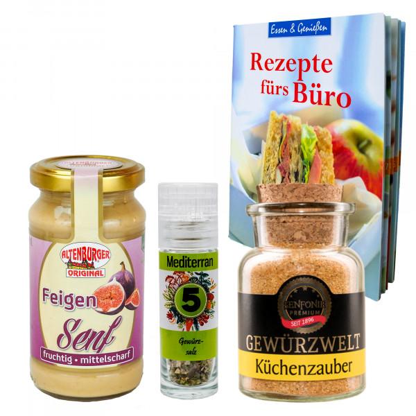 """Rezepte fürs Büro"" Bundle - Geschenk-Set gefüllt mit Senf & Gewürzen inkl. Rezeptbuch"