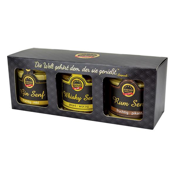 """Premium Box """"Edle Tropfen"""" gefüllt mit Gin Senf, Whisky Senf und Rum Senf"""
