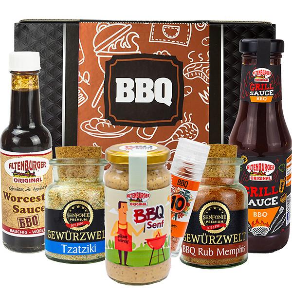 Geschenkbox BBQ gefüllt mit Gewürzspezialitäten, Senf und Saucen