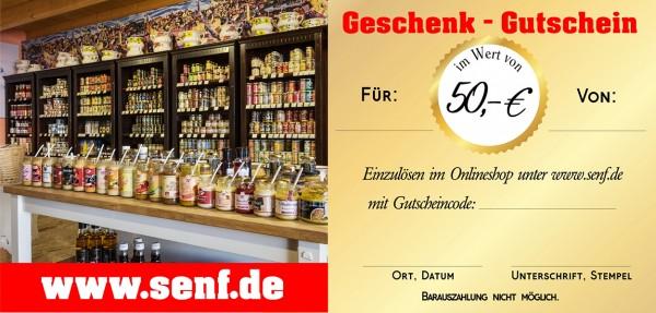 Onlineshop Gutschein 50 €