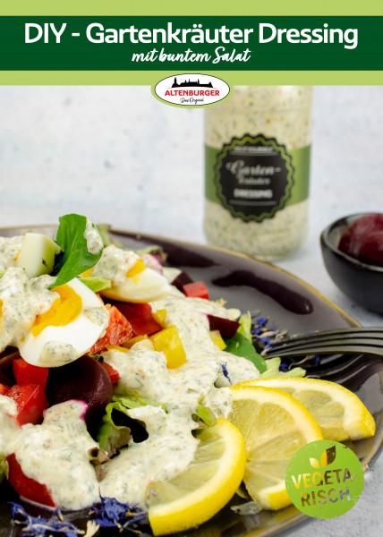 "Rezeptkarte ""Gartenkräuter Dressing mit buntem Salat"""