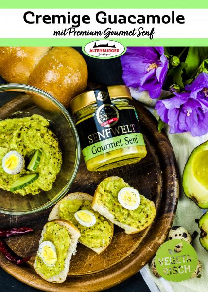 "Rezeptkarte ""Cremige Guacamole mit Gourmet Senf"""