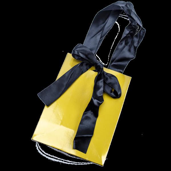 Goldene Geschenktüte mit schwarzem Seidenband