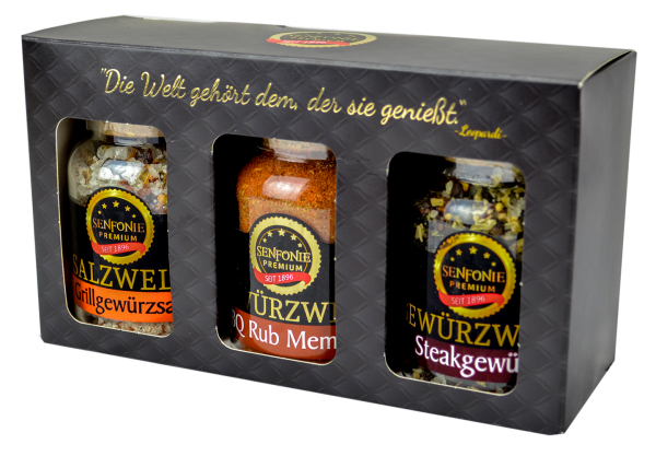 Premium Box Grillen - Geschenkset gefüllt mit Rub, Gewürzsalz und Steakgewürz