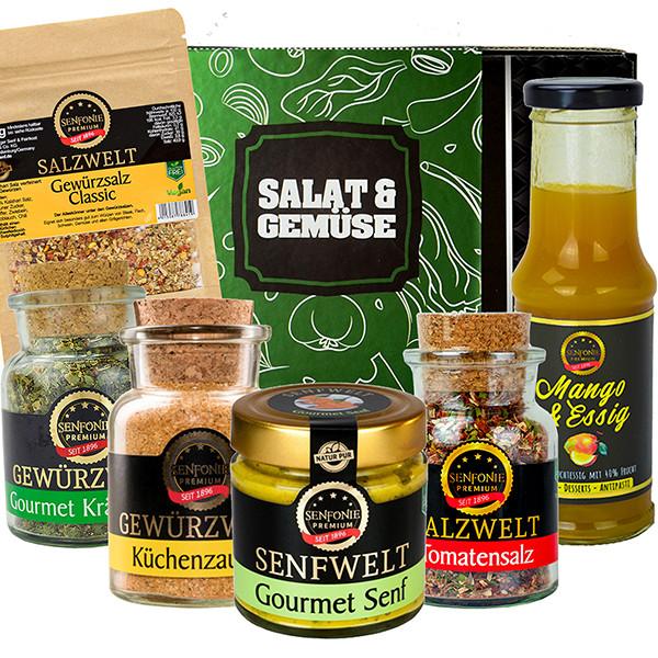Geschenkbox Salat & Gemüse gefüllt mit Gewürz- und Salzspezialitäten, Fruchtessig und Senf