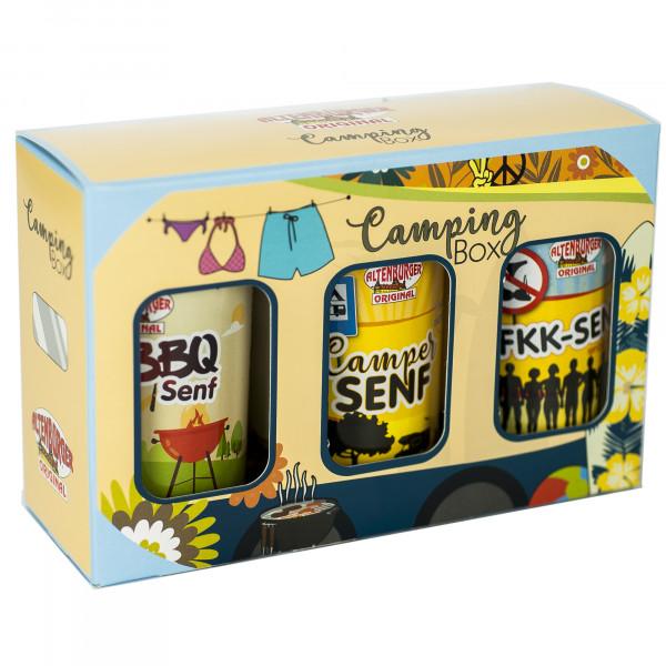 Camping Box - Geschenkset gefüllt mit drei Camping Spezialitäten