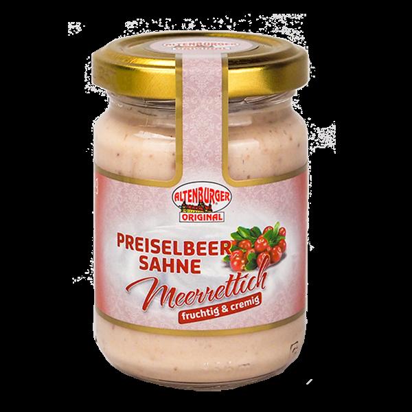 Preiselbeer Sahne Meerrettich für Lachs, Käse, Schinken und Ei.