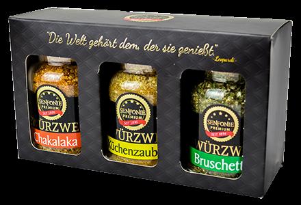 Premium Box Dips gefüllt mit Chakalaka-, Bruschetta und Küchenzaubergewürz