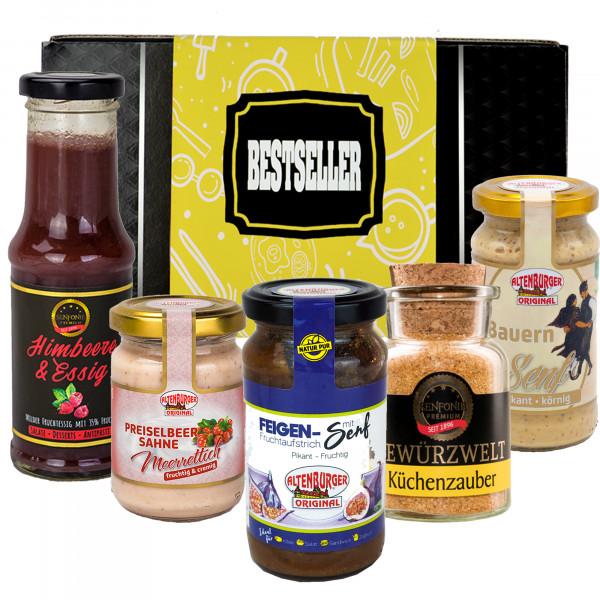 Geschenkbox Bestseller gefüllt mit Senfspezialitäten, Meerrettich, Fruchtessig und Gewürz