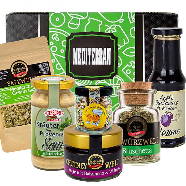 Geschenkbox Mediterran gefüllt mit Senf, Chutney, Frucht-Balsamico und Gewürzspezialitäten