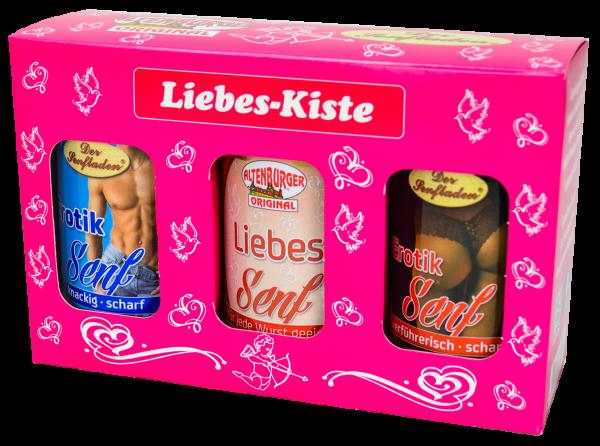 Liebes Kiste gefüllt mit 3 Senfsorten