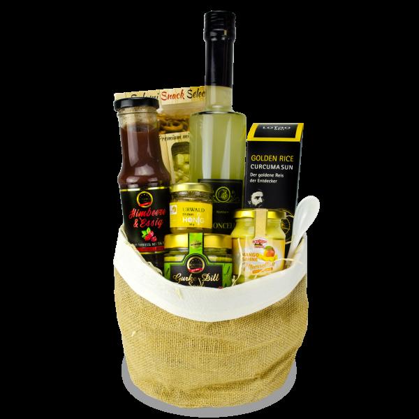 Feinkost Geschenk gefüllt mit Likör, Fruchtessig, Honig, Reis, Meerrettich und Snacks