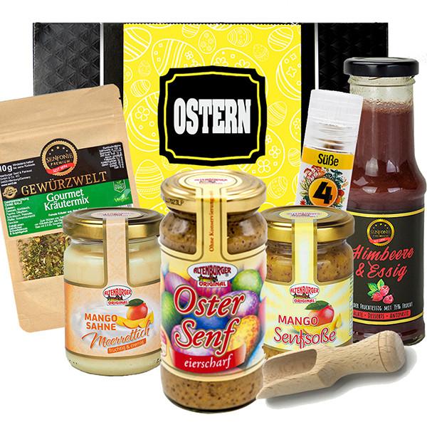 Oster Box gefüllt mit Senf, Saucen und Meerrettich