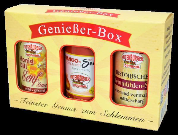Genießer Box mit drei leckeren Senfsorten
